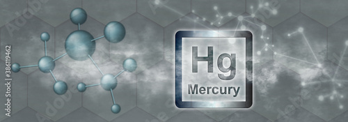 Fotografie, Obraz Hg symbol. Mercury chemical element