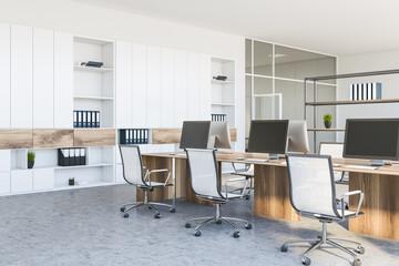 White open space office corner