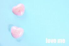 Two Pink Hearts On A Blue Back...