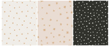 Simple Irregular Starry Seamless Vector Patterns. Simple Hand Drawn Stars Isolated On A Black And Beige Background. Funny Infantile Style Repeatable Abstract Night Sky Print.