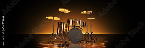 Fotografia Gold drum kit in golden background. 3d rendering