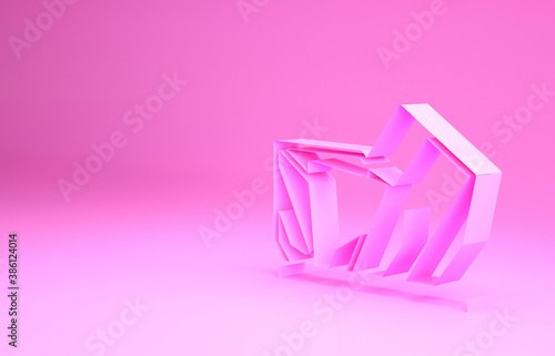 Naklejka premium Pink Royal Ontario museum in Toronto, Canada icon isolated on pink background. Minimalism concept. 3d illustration 3D render.
