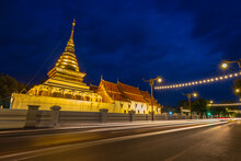 Wat Phra That Chang Kham, Buddhist Temple With Blue Twilight Night Sky, One Of The Most Famous Tourist Attraction In Nan Province, North Of Thailand.