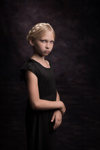 Classic Studio Portrait Of Blonde Girl With Braids In Dark Painterly Rembrandt Style