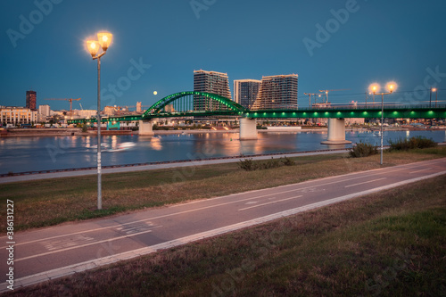 Obraz na plátně Beautiful panorama of Belgrade city at blue hour