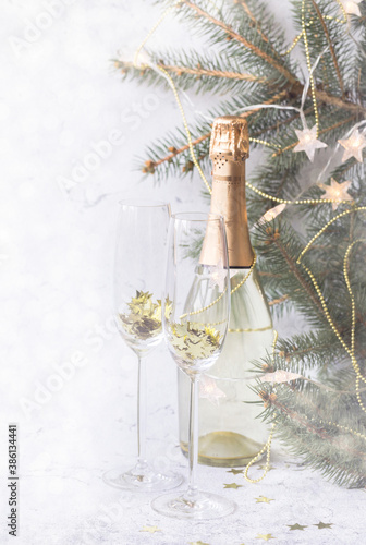 Christmas and New Years festive card. Canvas Print