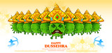 illustration of Covid Ravana with ten heads of Corona virus for Navratri festival of India poster for Dussehra