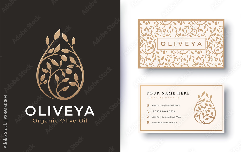 Fototapeta organic product olive oil logo and business card design