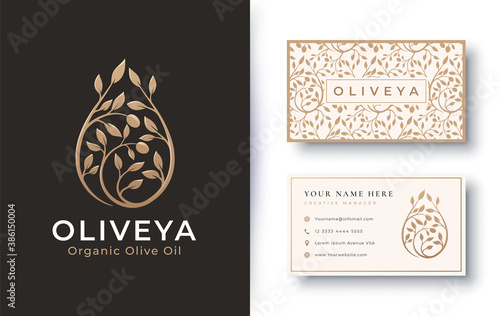 Fototapety, obrazy: organic product olive oil logo and business card design