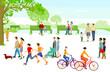 Personen in der Freizeit im Stadtpark