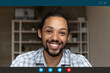 Head shot portrait screen view smiling African American man talking online, looking at camera, chatting with friends or relatives at home, using webcam and social media app, video call concept