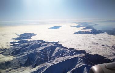 the view from the plane to Armenia azerbaijan georgia mountain ranges sky