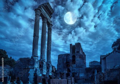Fotografering Roman Forum at night, Rome, Italy