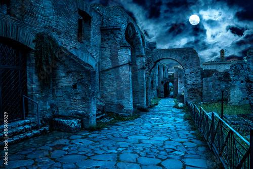 Obraz Roman Forum at night, Rome, Italy. Mystery creepy view of Ancient street in full moon. - fototapety do salonu