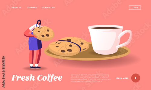 Obraz Morning Refreshment Landing Page Template. Tiny Female Character Eating Huge Cookie with Chocolate Sprinkles with Coffee - fototapety do salonu