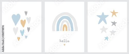 Simple Scandinavian Style Vector Illustration with Rainbow, Stars and Hearts. Lovely Nursery Art with Pastel Color Doodles Isolated on a White Background. Funny Infantile Style Print.