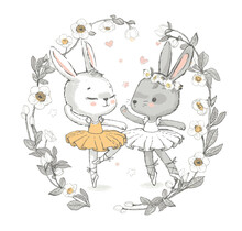 Illustration Of Two Grey And White Dancing Ballerina Bunnyes. Little Rabbits Girls Dancing. Wreath With Beautiful Flowers In The Background. Can Be Used For T-shirt Print, Kids Wear Fashion Design