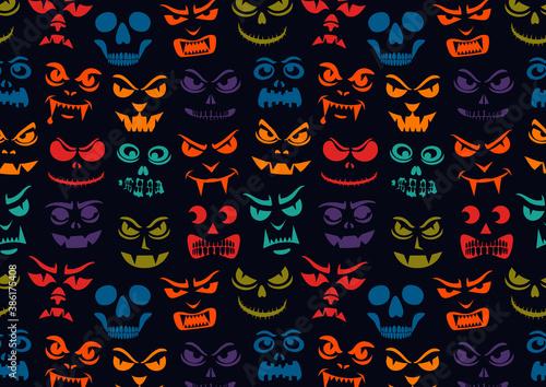 Funny monsters pattern Billede på lærred