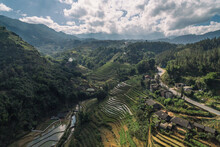 Rice Fields, Rice Terrace Paddy In Sa Pa Lao Cai Vietnam Asia Aerial Drone Photo