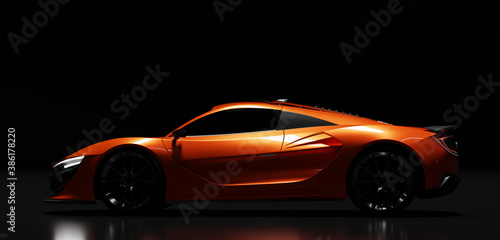 Side view of modern fast sports car in studio light