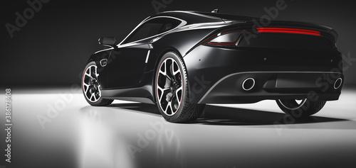 Obraz Rear view of modern fast sports car in studio light. - fototapety do salonu