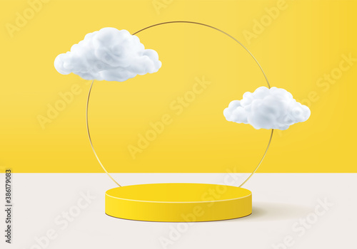 Cloud background vector 3d yellow rendering with podium and minimal cloud scene, minimal cloud background 3d rendering product shape yellow pastel. Stage for display showcase on cloud in podium 3d.