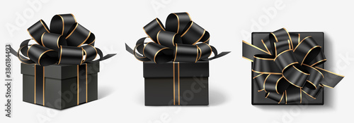 Set of decorative gift boxes isolated on gray. Christmas and new year holiday decoration. Black friday sale collection. - 386184493