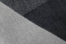 Closeup Of Gray And Black Wool Fabric Texture With Geometric Pattern