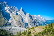 Mont Blanc And Great Jorasses Mountain Range With Visible Moraine De Miage, Tour Du Mont Blanc, Italian Alps