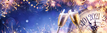 Abstract New Year Eve Background - Champagne And Clock With Fireworks