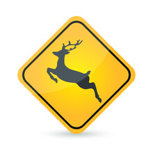Yellow Deer Crossing Sign Isolated On White Background. Traffic Symbol Modern Simple Vector Icon. Eps10 Vector Illustration.