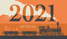 New Year Card With A Vintage Steam Locomotive Train