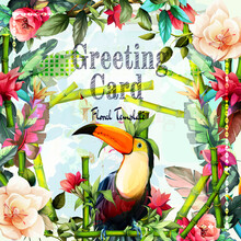Greeting Floral Vintage Card With Flowers. Tropical Leaf, Flowers, Bamboo And Toucan Bird. This Template Can Be Used As Other Type Of Invitations And Holidays. Vector.