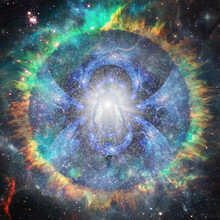 Essence Of Light In Space. Spirit Or Aura. 3D Rendering