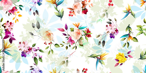 Fotografía Wide seamless background pattern with wild flowers, leaves and tropical elements on white