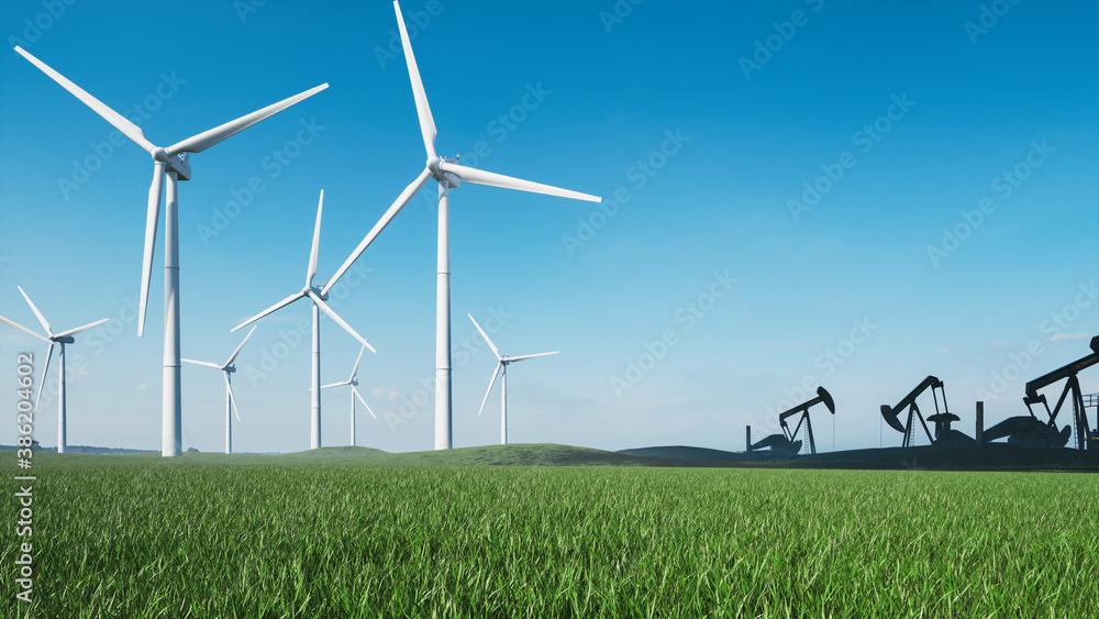 Obraz Wind turbines and oil pump jack. Oil pump jack and windmills farm. Windmills and oil rig.  3d illustration fototapeta, plakat