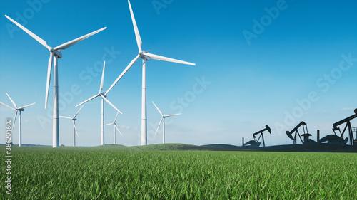 Obraz Wind turbines and oil pump jack. Oil pump jack and windmills farm. Windmills and oil rig.  3d illustration - fototapety do salonu