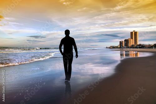 Cuadros en Lienzo paisaje de un hombre paseando por la playa