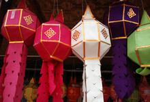 Colorful Traditional Paper Lantern Hanging In The Temple At Nan Province , Thailand