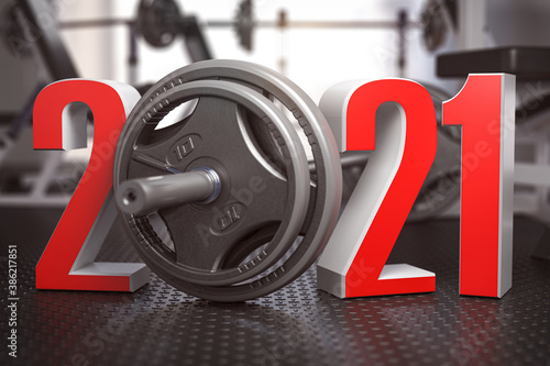 Obraz 2021 Happy New Year  in fitness bodybuilding workout gym. Number 2021 with barbell and oter spoirt equipment. - fototapety do salonu