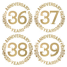 Set Of Golden Anniversary Emblems. Thirty Sixth, Thirty Seventh, Thirty Eighth, Thirty Ninth Years Signs In Vintage Style.