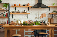 Rustic Kitchen Details For Christmas. Rustic Kitchen Table Setting And Decor For New Year Close-up And Copy Space.