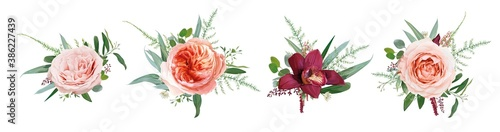 Photographie Vector floral bouquet design: pale coral Juliette rose flower, dusty pink, peach roses, burgundy red orchid, amaranth, Eucalyptus branch greenery leaf, tender fern