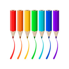 Vector Isolated Pencils In Seven Colors Of Rainbow.