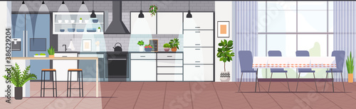 Obraz modern kitchen interior empty no people house room horizontal vector illustration - fototapety do salonu