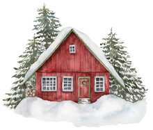 Watercolor Red House In Winter Forest. Hand Painted Christmas Illustration With Fir Trees And Snow Isolated On White Background. Holiday Card For Design, Print, Fabric Or Background.