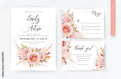 Elegant vector wedding invite, rsvp, thank you card template set. Blush peach rose flowers, autumn brown beige, burnt orange Eucalyptus branches foliage, fern frond decorative watercolor style bouquet
