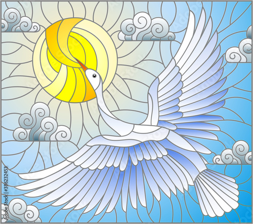 Fototapeta premium A stained glass illustration with a white Swan flying against a cloudy blue sky and the sun