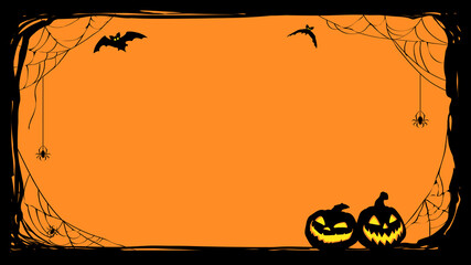 Fototapeta Siatkówka Halloween night frame with bats and Jack O' Lanterns. Vector poster illustration.