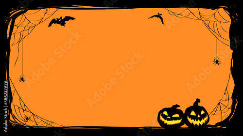 Halloween night frame with bats and Jack O' Lanterns. Vector poster illustration. - 386237676